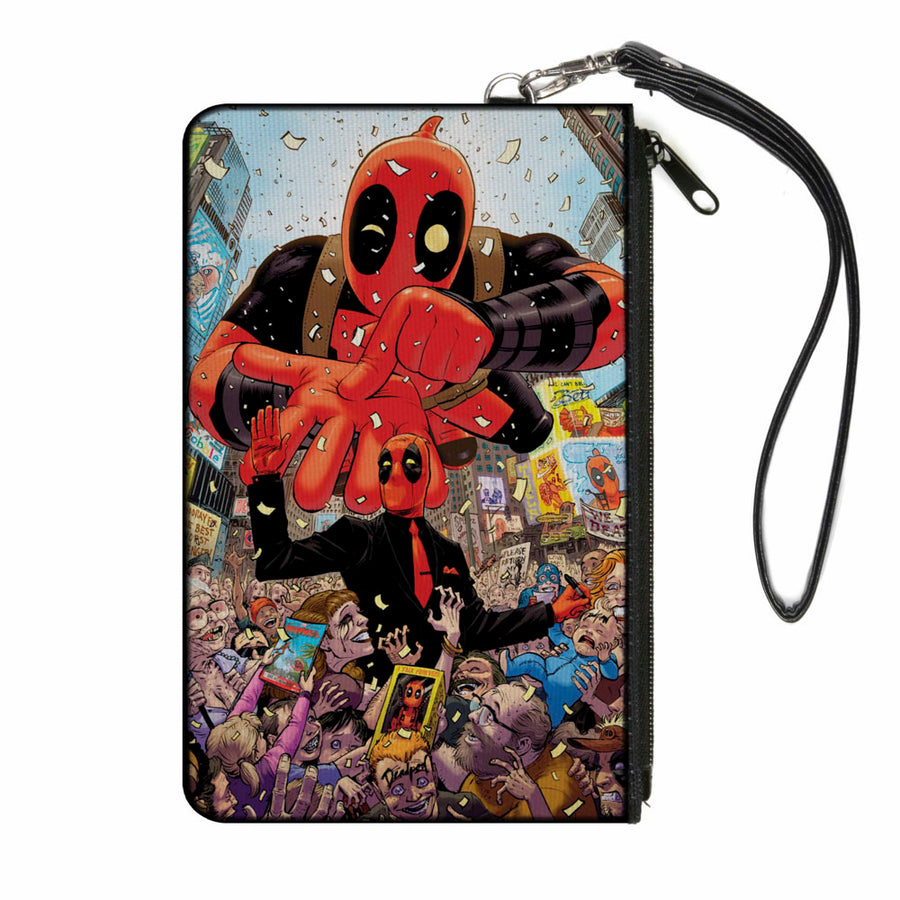 MARVEL DEADPOOL Canvas Zipper Wallet - LARGE - Deadpool 2016 Issue #1 Parade Balloon Cover Pose