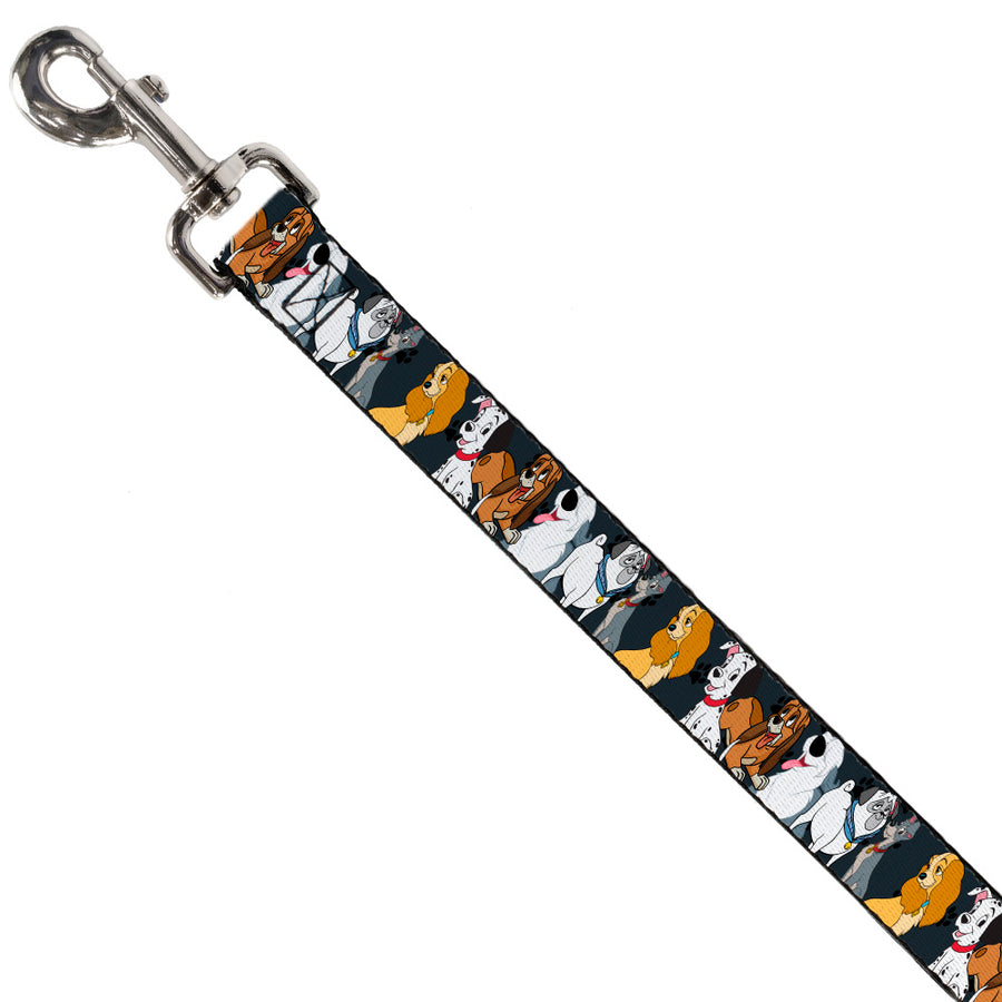 Dog Leash - Disney Dogs 6-Dog Group Collage/Paws Gray/Black