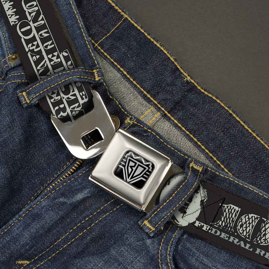 BD Wings Logo CLOSE-UP Full Color Black Silver Seatbelt Belt - Americana One Hundred Dollar Bill Elements Black/Gray Webbing