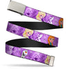 Chrome Buckle Web Belt - Frozen Anna/Elsa/Olaf Poses/Scenes Purples Webbing