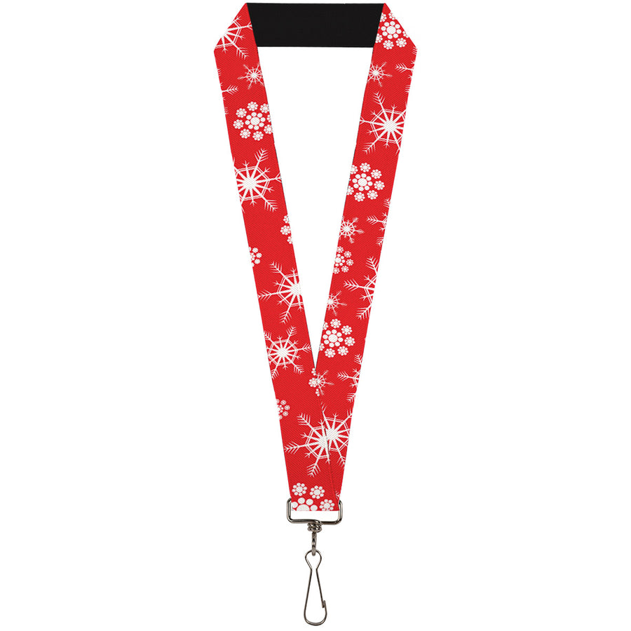 "Lanyard - 1.0"" - Snowflakes Red White"