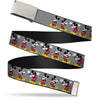 Chrome Buckle Web Belt - Mickey Mouse w/Glasses Poses Gray Webbing