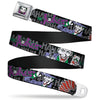 Joker Face Full Color Seatbelt Belt - The Joker Pose/Cards/HAHAHAHA Black/Gray Webbing