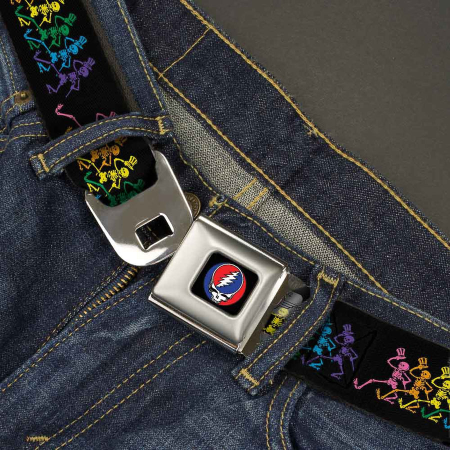 Steal Your Face Seatbelt Belt - Dancing Skeletons Black/Multi Color Webbing