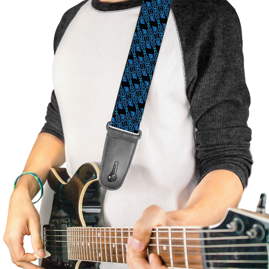 Guitar Strap - Diagonal Retro Chevy Bowtie Monogram Black Blues