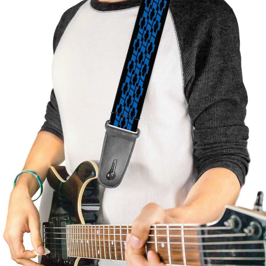 Guitar Strap - Chevy Bowties 3-Row Black Blue