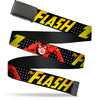Black Buckle Web Belt - THE FLASH Running Action Pose/Lightning Bolt Halftone Dots Black/Grays/Yellows Webbing