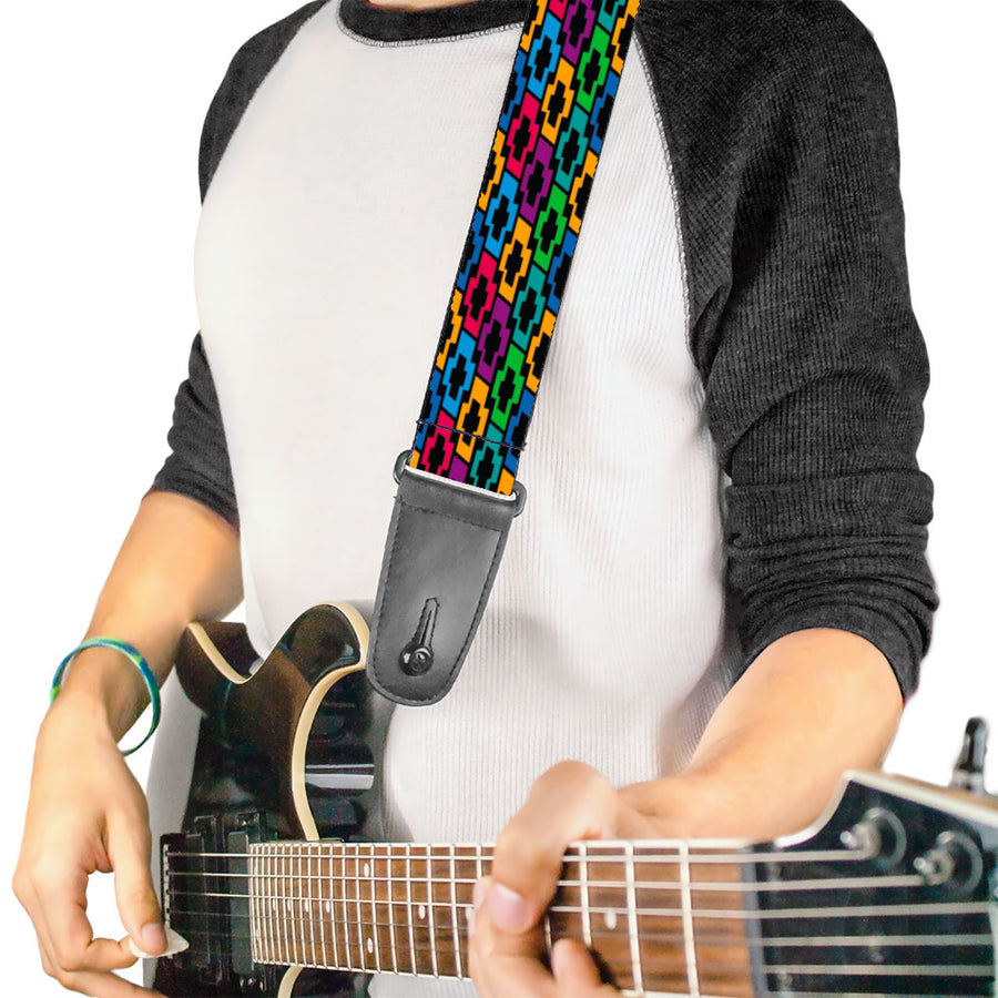 Guitar Strap - Chevy Bowties 5-Row Black Multi Color