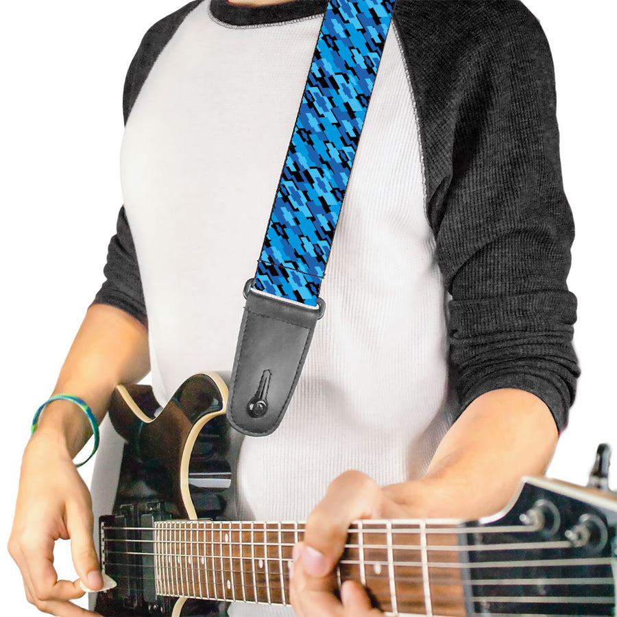 Guitar Strap - Diagonal Retro Chevy Bowtie Stacked Black Blues