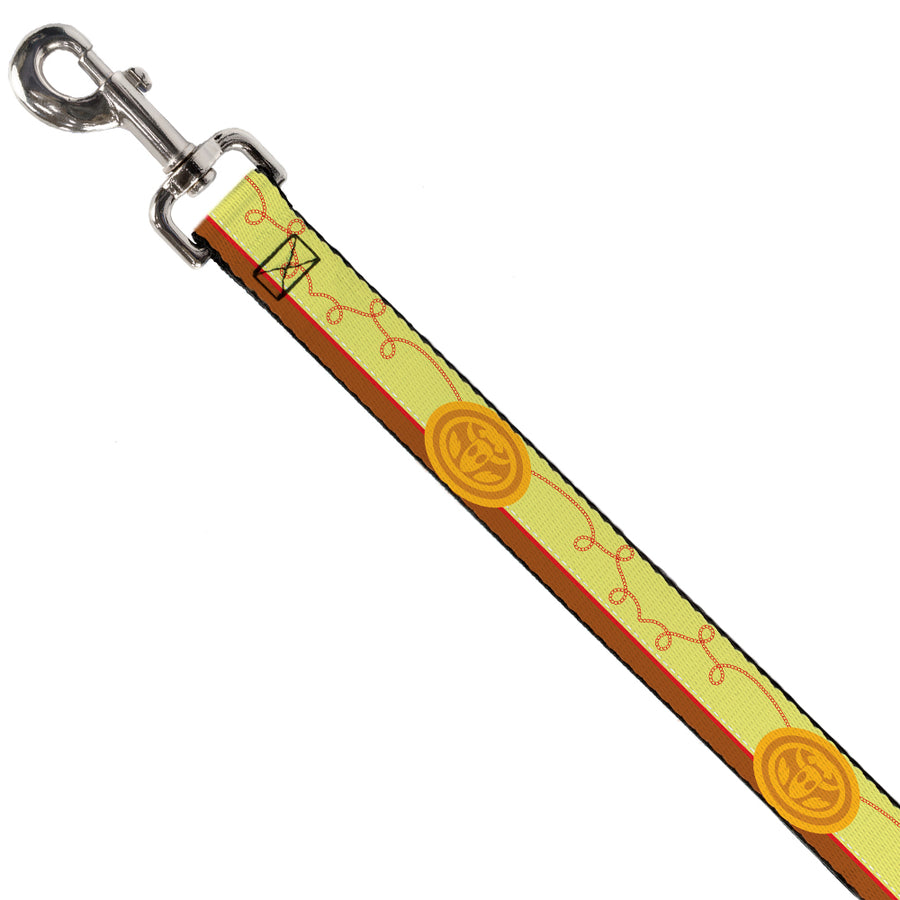 Dog Leash - Toy Story Jessie Bounding Cowboy Buckle Lasso Stripe Yellow/Red/Brown