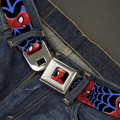 Spider-Man Half Wink Expression Full Color Black Seatbelt Belt - Spider-Man 3-Expressions/Web Orb Black/Blue Webbing
