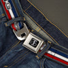 FORD MUSTANG Tri-Bar Logo Full Color Black White Silver Red Blue Seatbelt Belt - Mustang/Text w/Tri-Bar Stripe Webbing