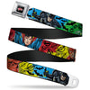 JUSTICE LEAGUE Star Logo Full Color Black Silver-Fade Red Seatbelt Belt - Justice League New 52 4-Superhero Poses/Scattered Logos Multi Color/Black Webbing
