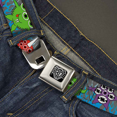 BD Wings Logo CLOSE-UP Full Color Black Silver Seatbelt Belt - Cute Monsters Gray/Flame Blue Webbing