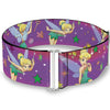 Cinch Waist Belt - Tinker Bell Poses Flowers Stars Skull Purple