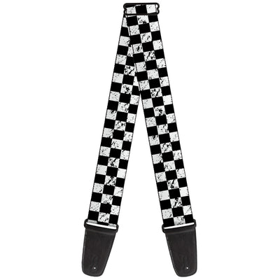 Guitar Strap - Checker Weathered2 Black White