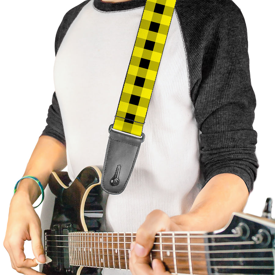 Guitar Strap - Buffalo Plaid Black Neon Yellow