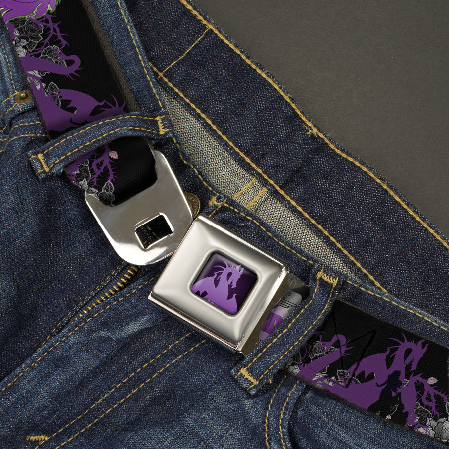 Dragon Maleficent Full Color Black Purple Seatbelt Belt - Maleficent & Diablo Black Roses/Purples Webbing