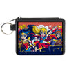 Canvas Zipper Wallet - MINI X-SMALL - DC Super Hero Girls Trio Group Pose Logo Reds Blues