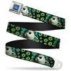 Monsters University Logo Full Color Blue White Seatbelt Belt - Mike Poses/Eyeballs Black/Greens Webbing
