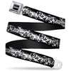 Batman Black Silver Seatbelt Belt - Batman Action Verbiage Black/White Webbing