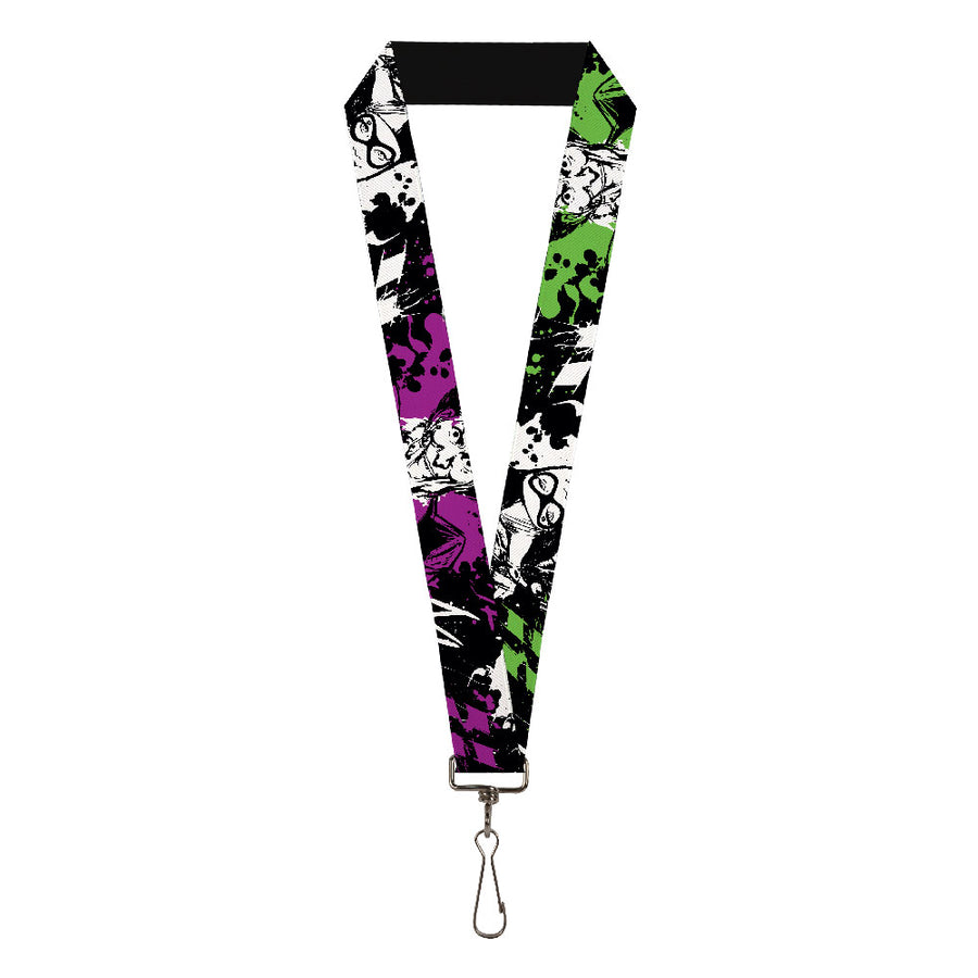 "Lanyard - 1.0"" - Joker Smiling Harley Quinn Eyes Splatter Black White Purple Green"