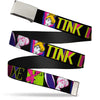 Chrome Buckle Web Belt - TINK LUXE Sketch Black/Multi Neon Webbing