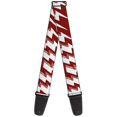 Guitar Strap - Lightning Bolts Sketch Red White