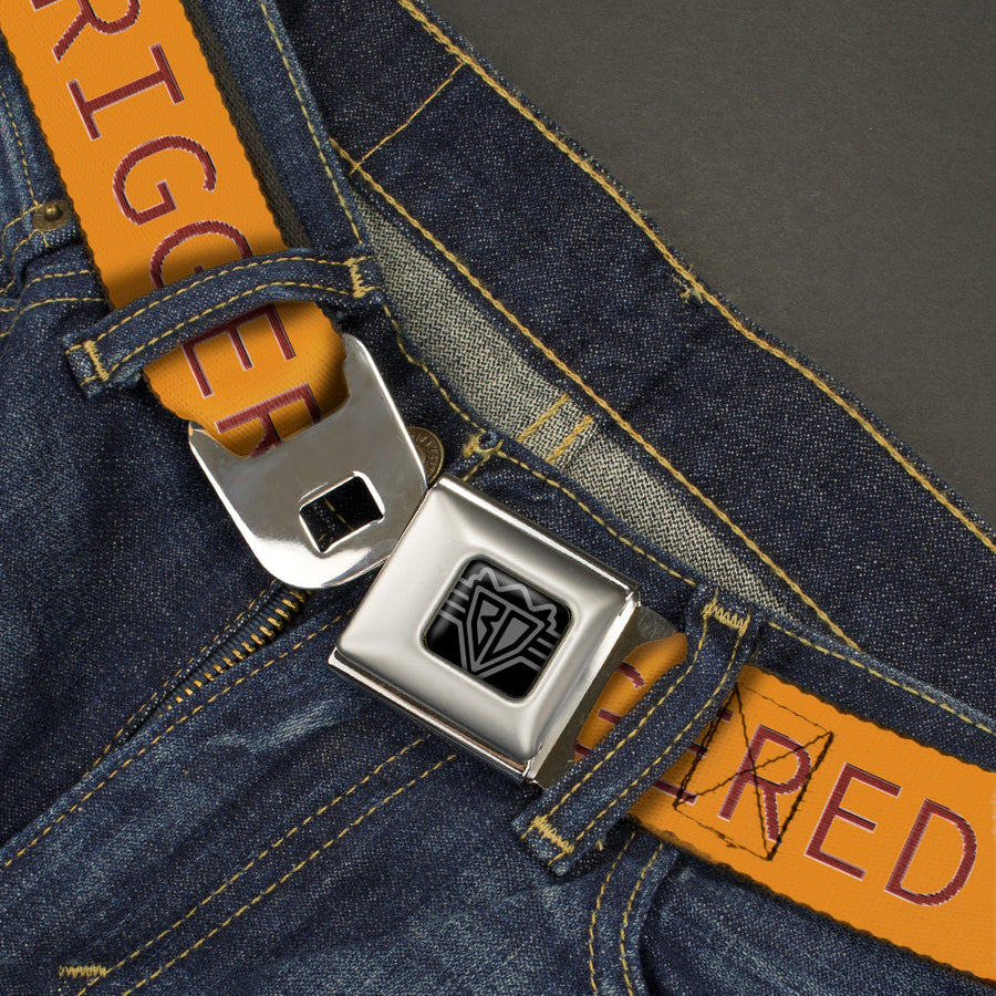 BD Wings Logo CLOSE-UP Black/Silver Seatbelt Belt - TRIGGERED Orange/Burgundy Webbing