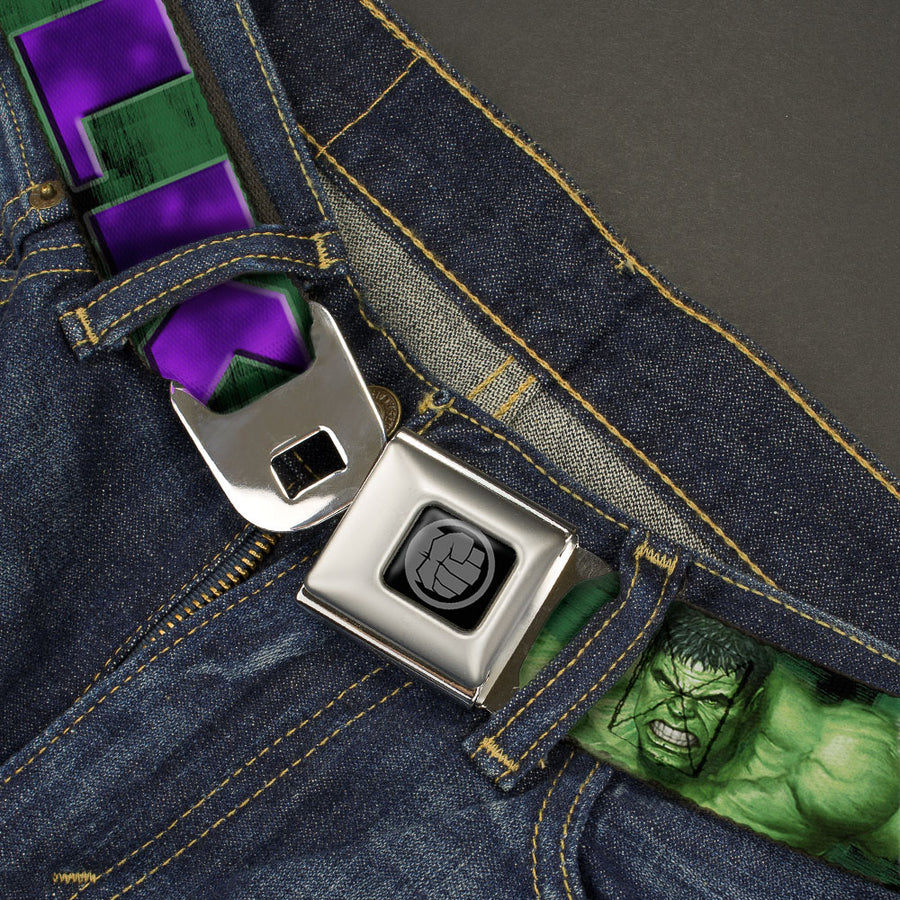 MARVEL AVENGERS Hulk Avengers Icon Black Silver Seatbelt Belt - HULK Face CLOSE-UP/Action Pose Greens/Purples Webbing