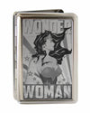 Business Card Holder - LARGE - WONDER WOMAN Pose Stars & Rays Brushed Silver