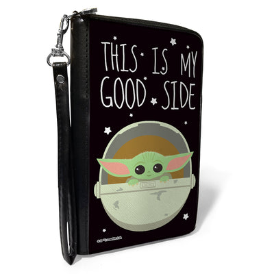 Women's PU Zip Around Wallet Rectangle - Star Wars The Child Chibi Pod Pose THIS IS MY GOOD SIDE Black White