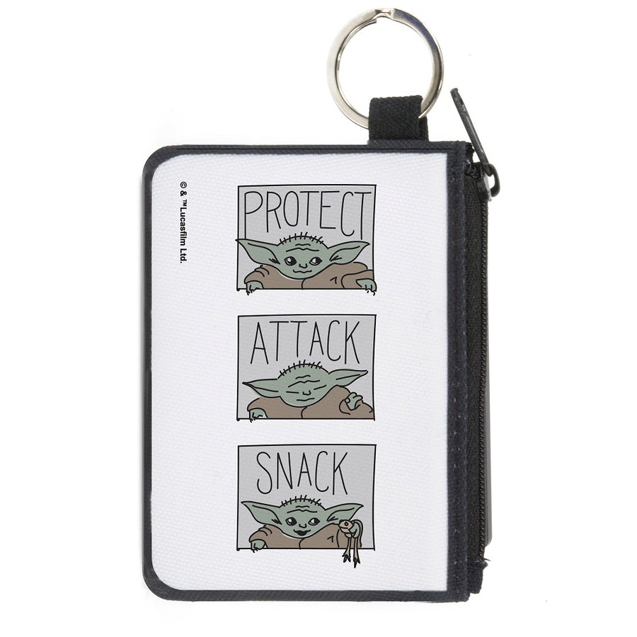 Canvas Zipper Wallet - MINI X-SMALL - Star Wars The Child PROTECT ATTACK SNACK Pose Blocks White