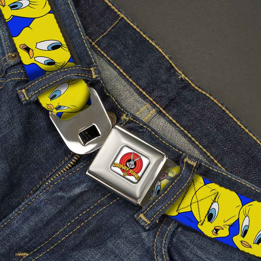 Looney Tunes Logo Full Color White Seatbelt Belt - Tweety Bird CLOSE-UP Expressions Royal Webbing