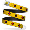 Reverse Flash Logo Full Color Golden Yellow Black Red Seatbelt Belt - Reverse Flash Logo Golden Yellow/Black/Red Webbing