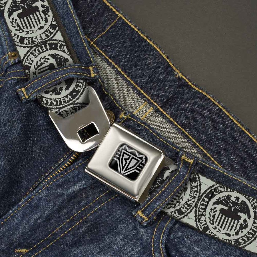 BD Wings Logo CLOSE-UP Full Color Black Silver Seatbelt Belt - Americana Federal Reserve Seal Weathered Gray/Black Webbing