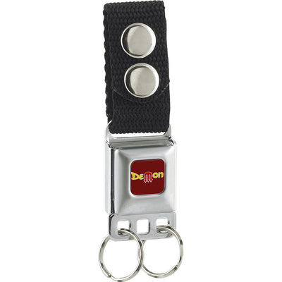 Keychain - Vintage Dodge DEMON Logo Full Color Burgundy Silver Yellow Red