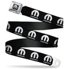 MOPAR Logo Full Color Black/White Seatbelt Belt - MOPAR Logo Repeat Black/White Webbing
