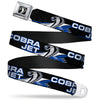 Cobra Head Full Color Black White Seatbelt Belt - COBRA JET/Cobra Head Flame Black/Blue/White Webbing