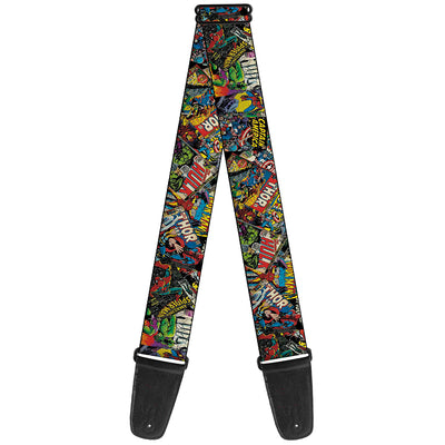 MARVEL COMICS Guitar Strap - Retro Marvel Comic Books Stacked CLOSE-UP