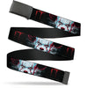 Black Buckle Web Belt - IT CHAPTER TWO Pennywise Face CLOSE-UP Black/Red/Blues Webbing