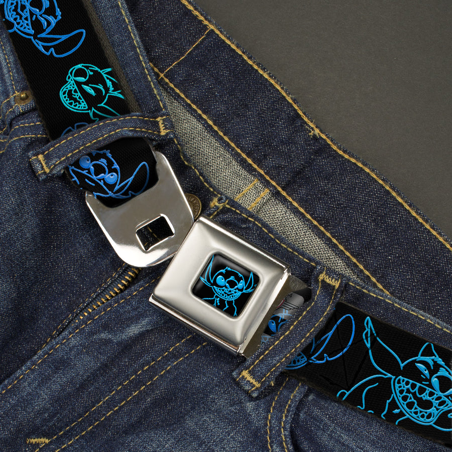 Stitch Pose Full Color Black Neon Blue Seatbelt Belt - Electric Stitch Poses Black/Neon Blue Webbing