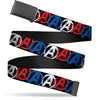 "Black Buckle Web Belt - Avengers ""A"" Logo Weathered Black/Blue/White/Red Webbing"
