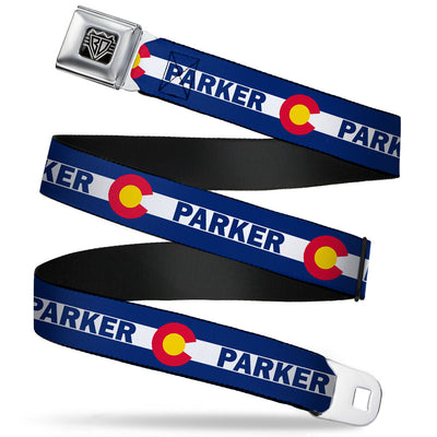 BD Wings Logo CLOSE-UP Full Color Black Silver Seatbelt Belt - Colorado PARKER Flag Blue/White/Red/Yellow Webbing