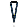 "MARVEL COMICS Lanyard - 1.0"" - BLACK PANTHER Comic Blocks Pose Blue Black Silver"