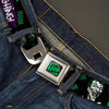 HAHA Stacked Full Color Black Gray Green Seatbelt Belt - Joker DIE LAUGHING! HAHA Black/Purple/Green Webbing