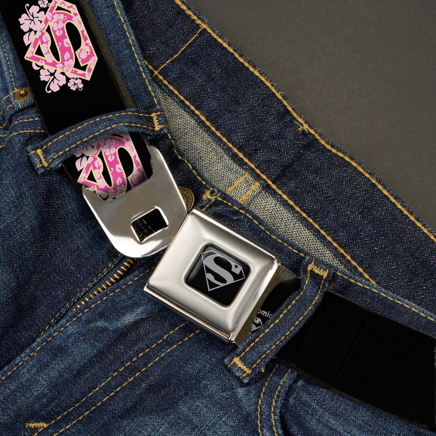 Superman Black Silver Seatbelt Belt - Super Shield Hibiscus Design Black/Pink Webbing