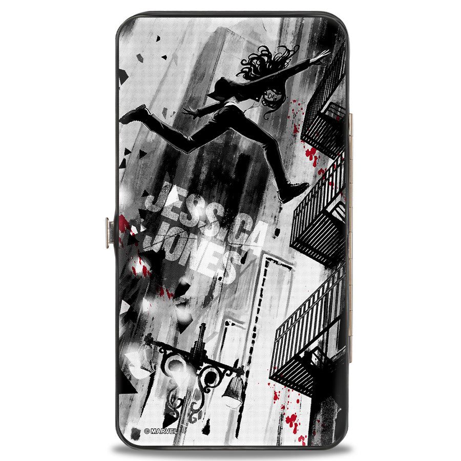 MARVEL UNIVERSE Hinged Wallet - Jessica Jones Marvel Now Variant Comic Book Covers 3 + 1 Grays Black