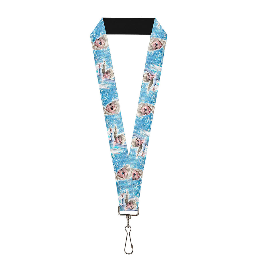 "Lanyard - 1.0"" - Frozen Elsa Face Action Pose Snowflakes Blues White"