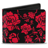 Bi-Fold Wallet - Mulan Flower Blossoms + Mushu Cri-kee Icon Black Red Gold